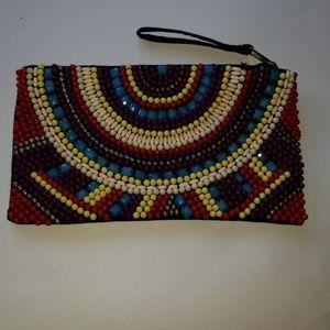 Boho chic beaded evening bag wristlet